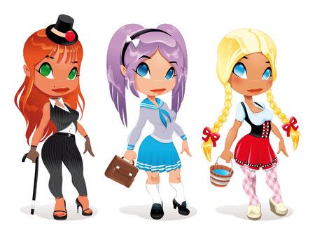 braids: Three kind of ladies. Cartoon