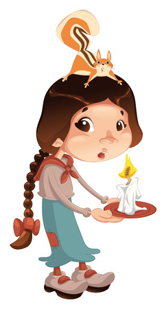 dread: Young girl with squirrel and candle.  cartoon and isolated scene. Illustration