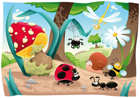 cartoon spider: Insects family on the ground. Funny cartoon and  scene. Objects isolated.