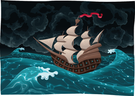 Galleon in the sea with storm. Cartoon and illustration