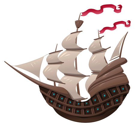 Galleon. Cartoon and object isolated. Vector