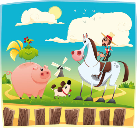 Funny farmer with animals. Cartoon and  illustration. Objects isolated. Stock Vector - 7072060