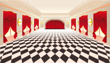 Innenraum mit roten Vorhängen und gefliesten Boden.  Vektorgrafik