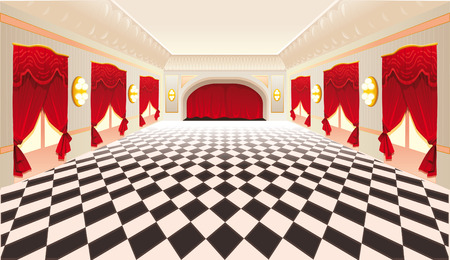 pave: Interior with red curtains and tiled floor.