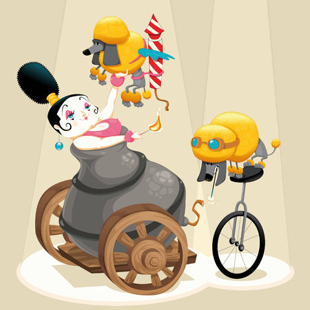 Woman with cannon and dachshunds in the circus. Cartoon and illustration. Isolated objects.