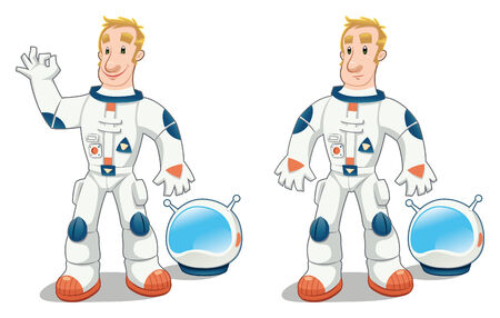spacesuit: Astronaut in two poses. Funny cartoon  isolated character. Illustration