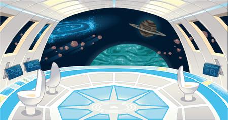 Spaceship interior. Funny cartoon and illustration.