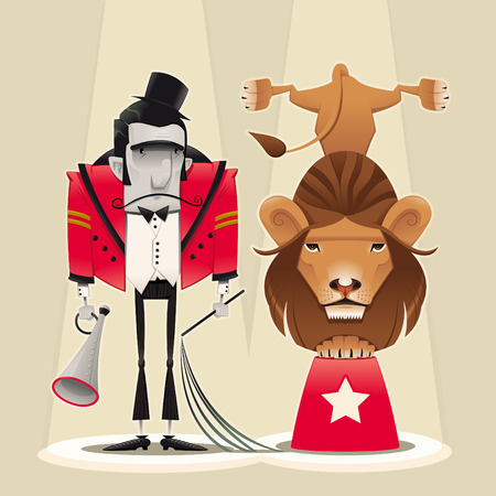 Lion Tamer with lion. Funny cartoon and  circus illustration. Stock Vector - 7132101