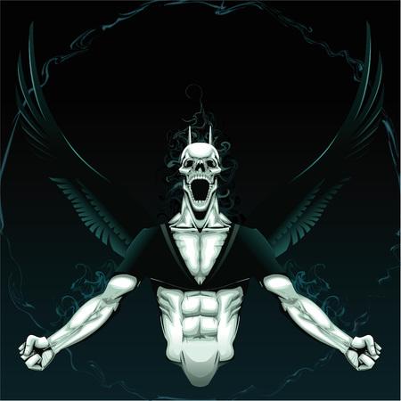 deces: Demon en col�re avec fond Illustration