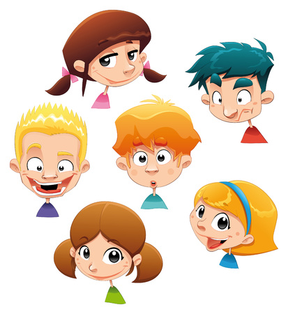 Set of different character expressions. Funny cartoon illustration. Isolated objects. Vector