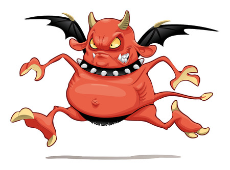 Demon: Funny demon. Cartoon character. Isolated object