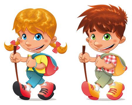 バックパック: トレッキングの男の子と女の子。