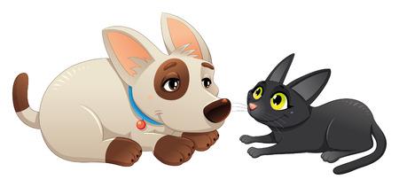 perro familia: Encantadora de gato y perro.