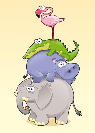 elefante cartoon: Animal de la pir�mide.