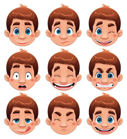 Boy Expressions.   Vector
