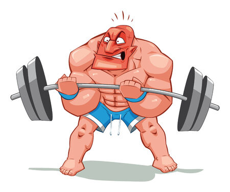 Muscle man, funny cartoon and character. Object isolated. Vector
