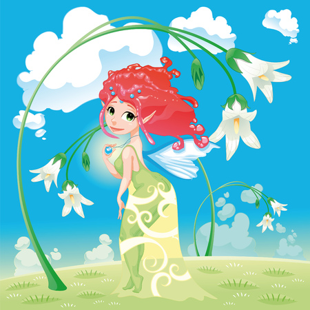 Fairy with flowers. Cartoon and vector illustration. Stock Vector - 7305858