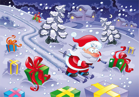 Santa Claus skiing in the night. Funny cartoon and vector illustration Vector