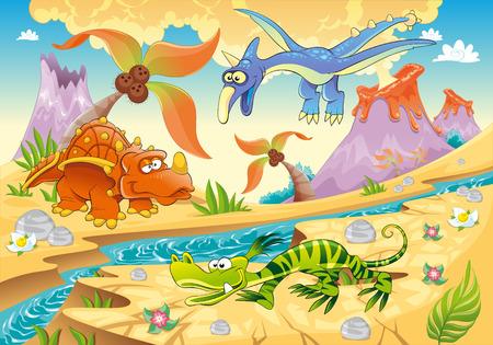 Dinosaurios de monstruos con fondo prehistórico.