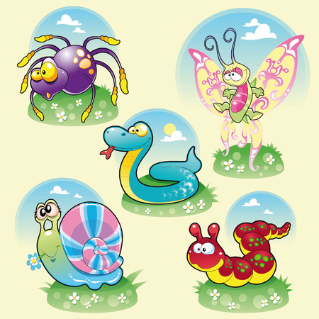gusanos: Familia de animales divertidos. Ilustraci�n, objetos aislados de la historieta