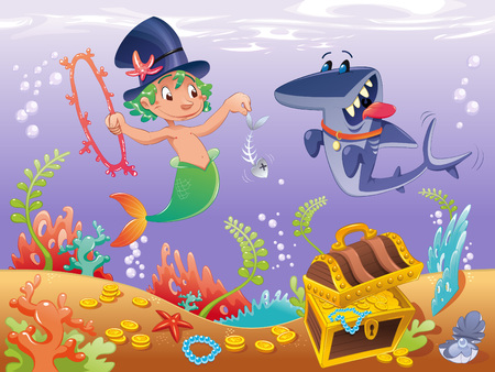 cartoon circus: Triton with shark. Funny cartoon  characters.