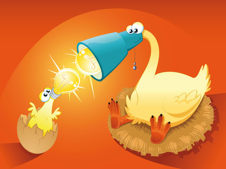 Particular chick with mother. Funny cartoon  illustration. Vector