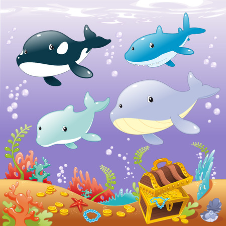 Family animals in the sea. Funny cartoon illustration Vector