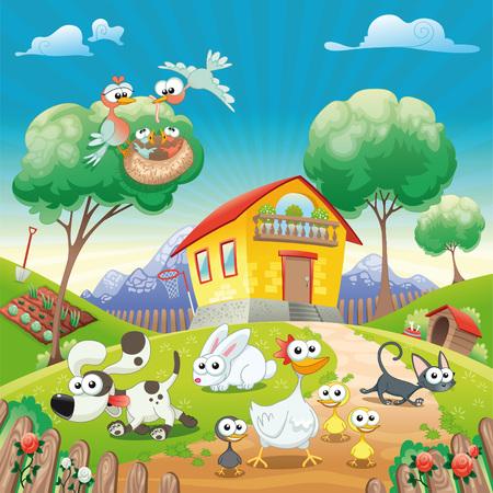 perro caricatura: Hogar con animales. Caricaturas divertidas e ilustraci�n. Objetos aislados.