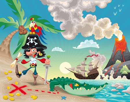 Pirate on the island. Funny cartoon and   scene. Vector