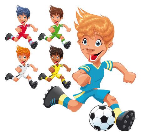 joueurs de foot: Joueurs de soccer. Caract�res de bande dessin�e et le sport.