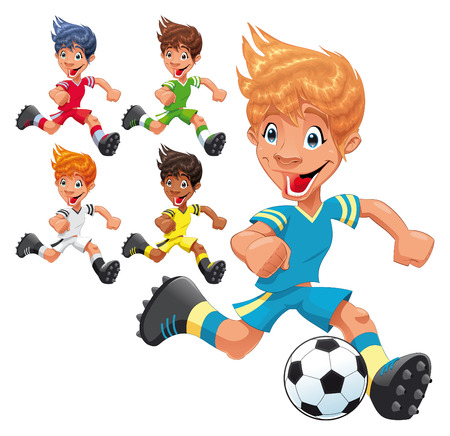 Soccer Players. Cartoon and sport characters. Vector