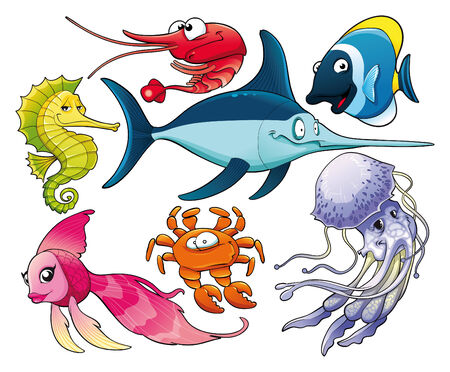 Marine life. Isolated cartoon characters.  Vector