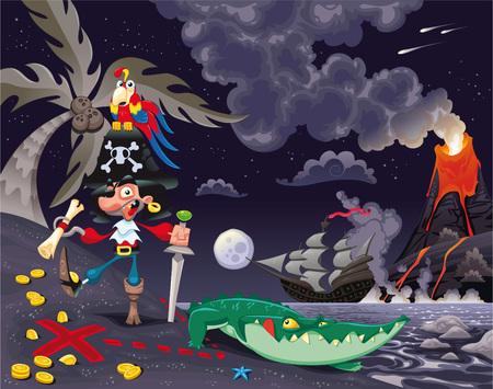 Pirate on the island in the night. Funny cartoon  Vector