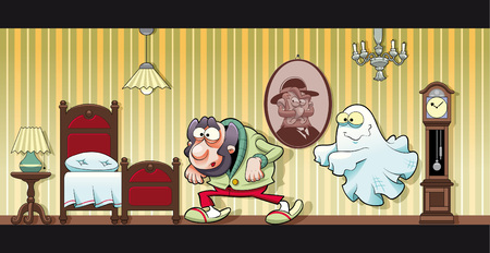 chandelier isolated: Haunted house. Funny cartoon
