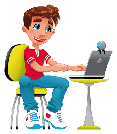 tenderly: Boy and computer. Funny cartoon