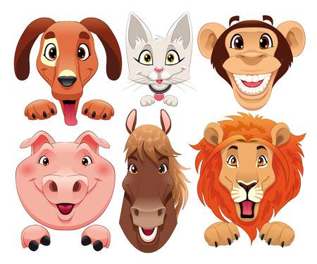 Animals portrait. Funny cartoon   Vector