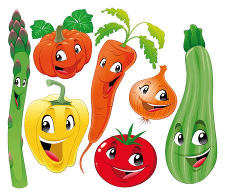 cartoon vegetable: Vegetable family. Funny cartoon