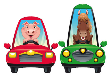 Animals in the car: Pig and Horse. Funny cartoon   Vector