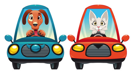 Animals in the car: Dog and Cat. Funny cartoon   Stock Vector - 7579626