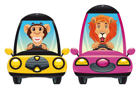 Animals in the car: Monkey and Lion. Funny cartoon  Vector