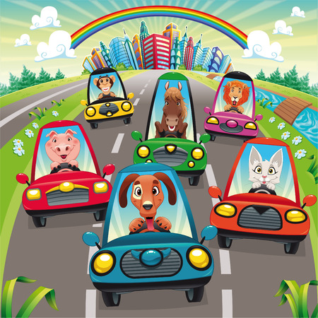 cartoon  lion: Traffic on the road. Funny cartoon and vector illustration, isolated objects. Illustration