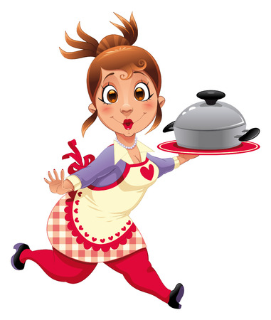 aprons: Housewife with pot. Funny cartoon and vector character.