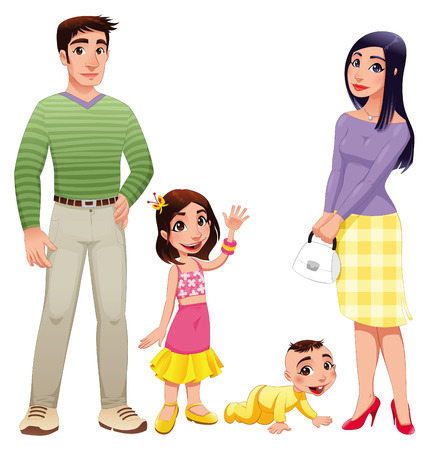 mom and dad: family with mother, father and children Illustration