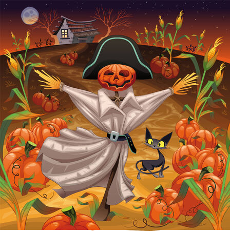 ghoul: Scarecrow with pumpkins. Illustration