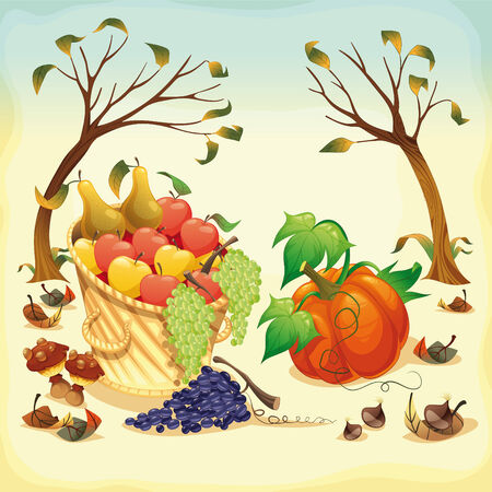 dry fruit: Fruit and vegetables in Autumn Illustration