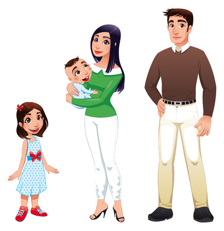 mom and dad: Human family with mother, father and children. Cartoon  illustration Illustration