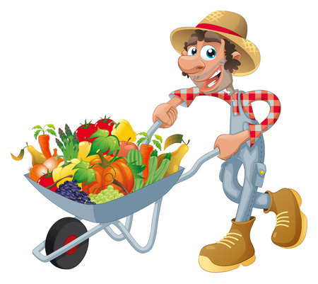 marrow: Peasant with wheelbarrow, vegetables and fruits. Cartoon and  illustration, isolated objects.