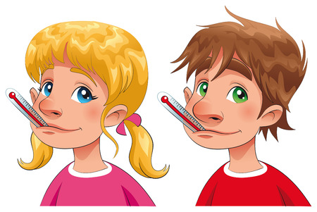 malaise: Boy and girl with thermometer. Cartoon and  characters, isolated objects