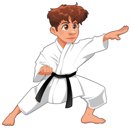 girls feet: Baby Karate Player. cartoon isolated character Illustration