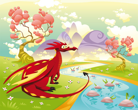 Dragon in landscape. Cartoon and   illustration, isolated objects. Vector